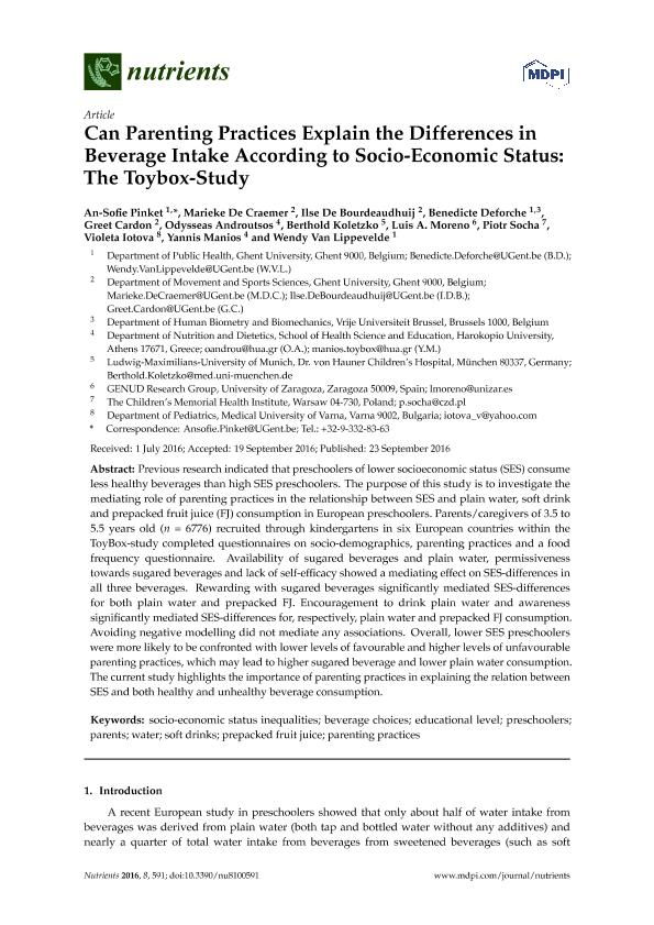 Can parenting practices explain the differences in beverage intake according to socio-economic status: The toybox-study