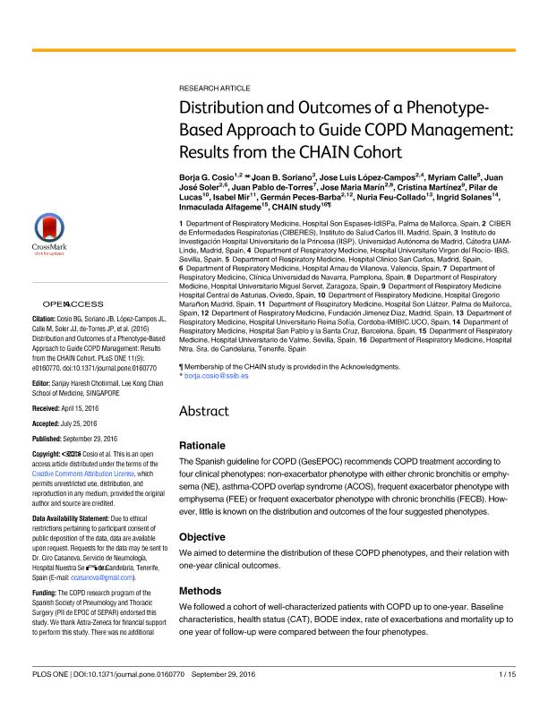 Distribution and outcomes of a phenotype-based approach to guide COPD management: Results from the CHAIN cohort