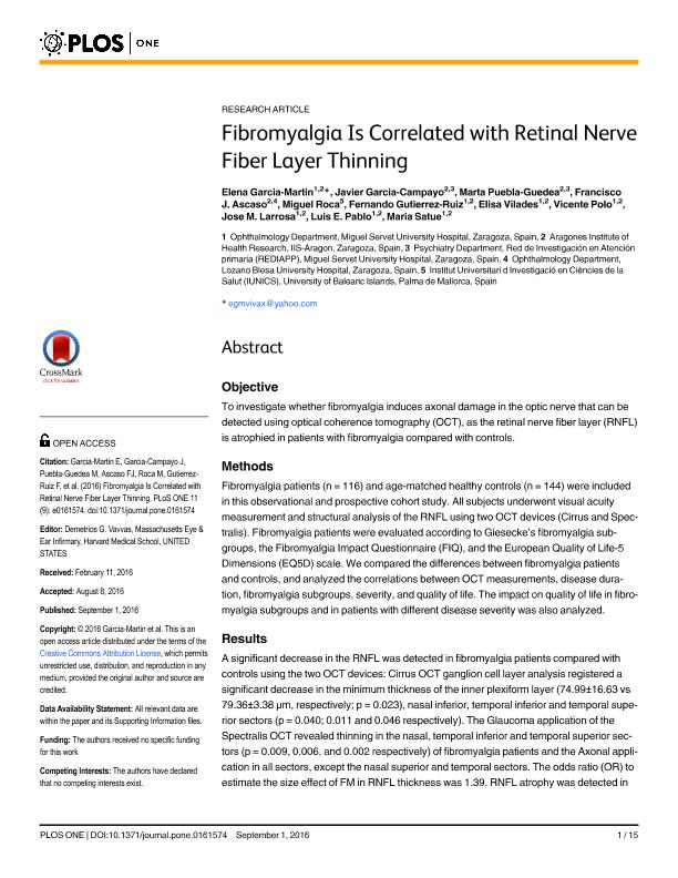 Fibromyalgia is correlated with retinal nerve fiber layer thinning