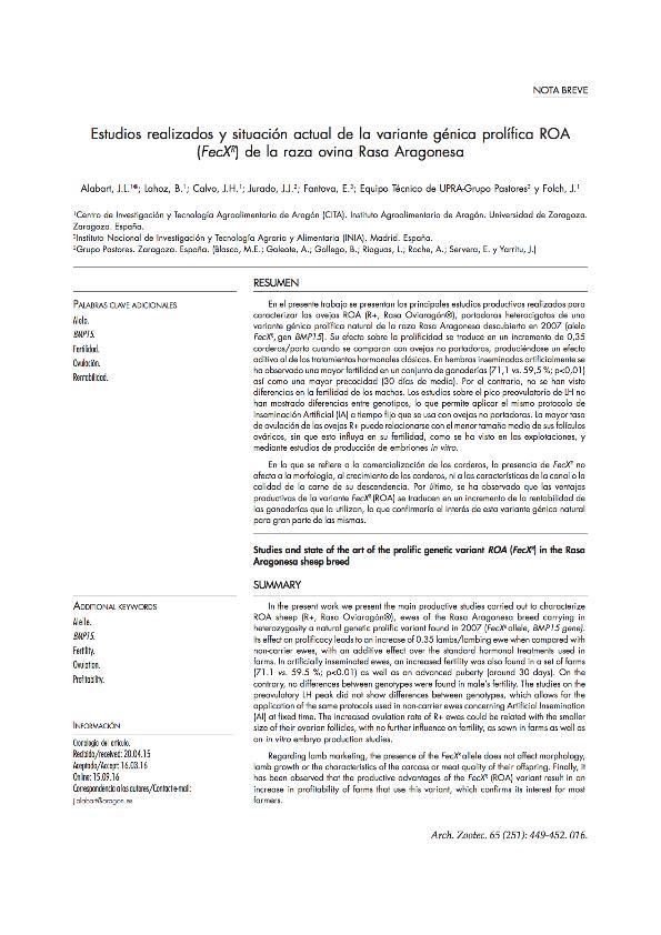 Estudios realizados y situación actual de la variante génica prolífica ROA (FecXR) de la raza ovina Rasa Aragonesa