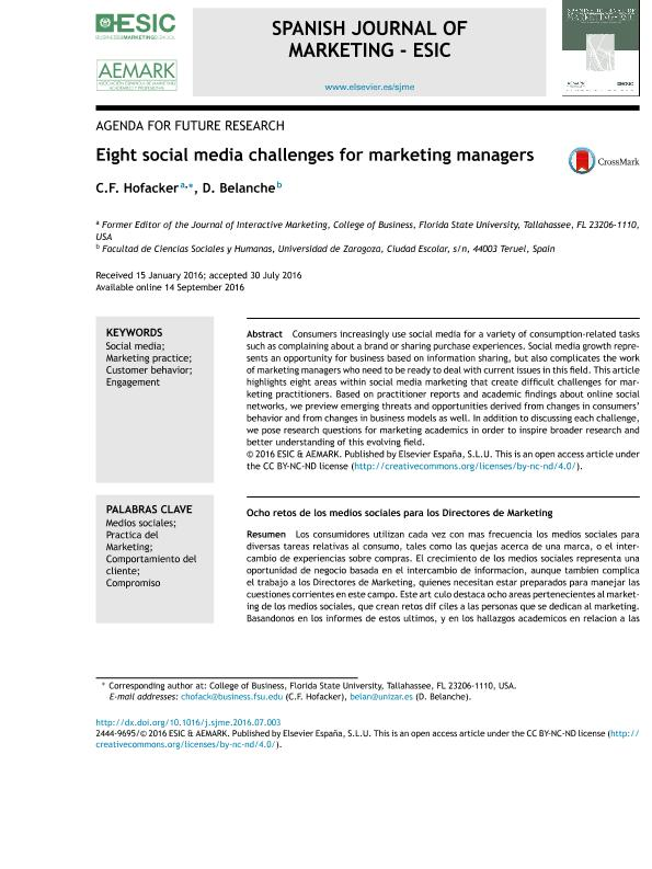 Eight social media challenges for marketing managers
