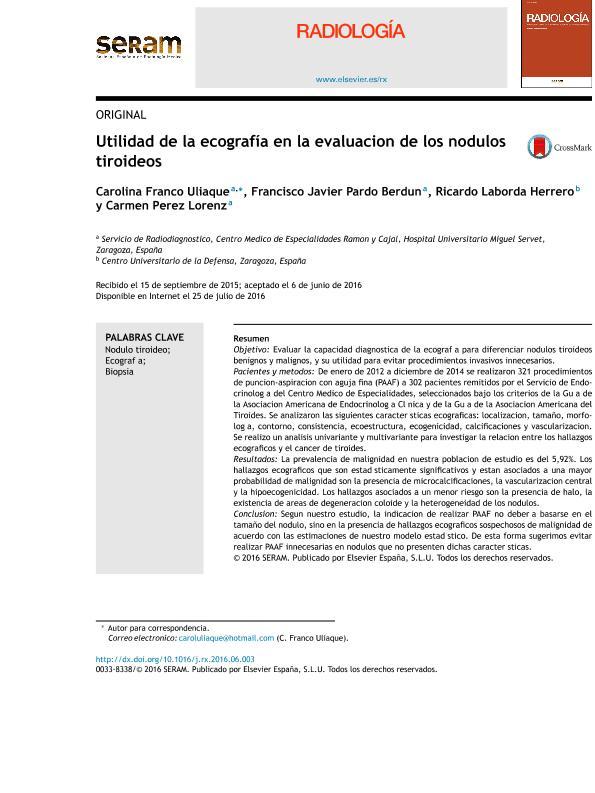 Utilidad de la ecografía en la evaluación de los nódulos tiroideos