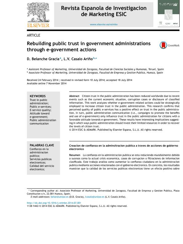 Rebuilding public trust in government administrations through e-government actions