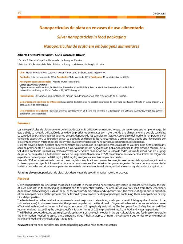 Nanopartículas de plata en envases de uso alimentario