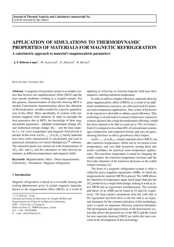 Application of simulations to thermodynamic properties of materials for magnetic refrigeration: A calorimetric approach to material's magnetocaloric parameters