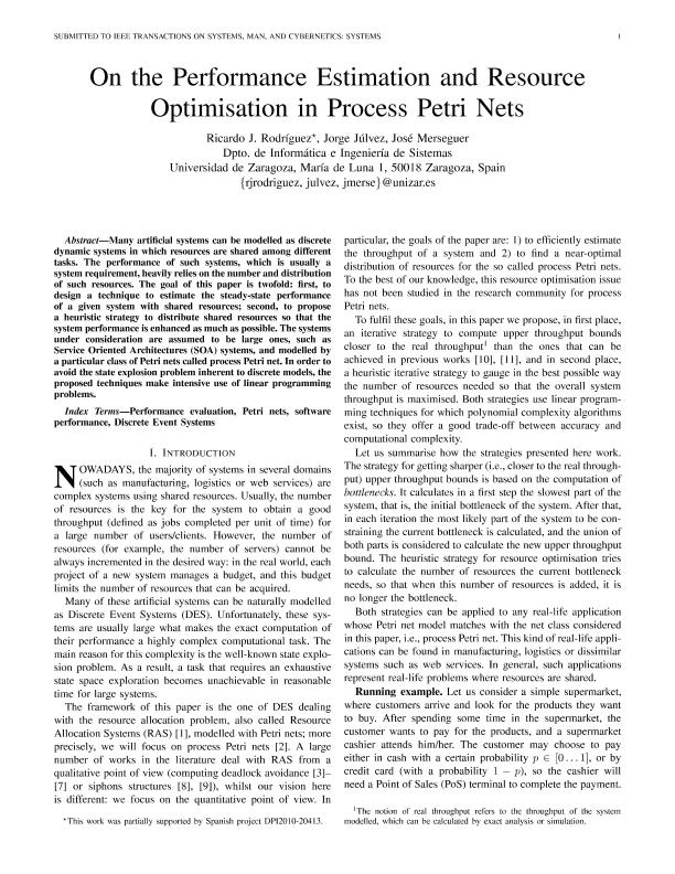 On the Performance Estimation and Resource Optimisation in Process Petri Nets