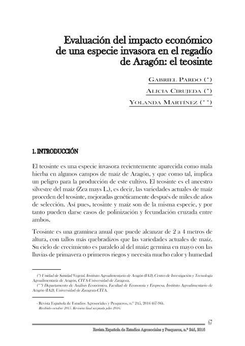 Evaluación del impacto económico de una especie invasora en el regadío de Aragón: el teosinte