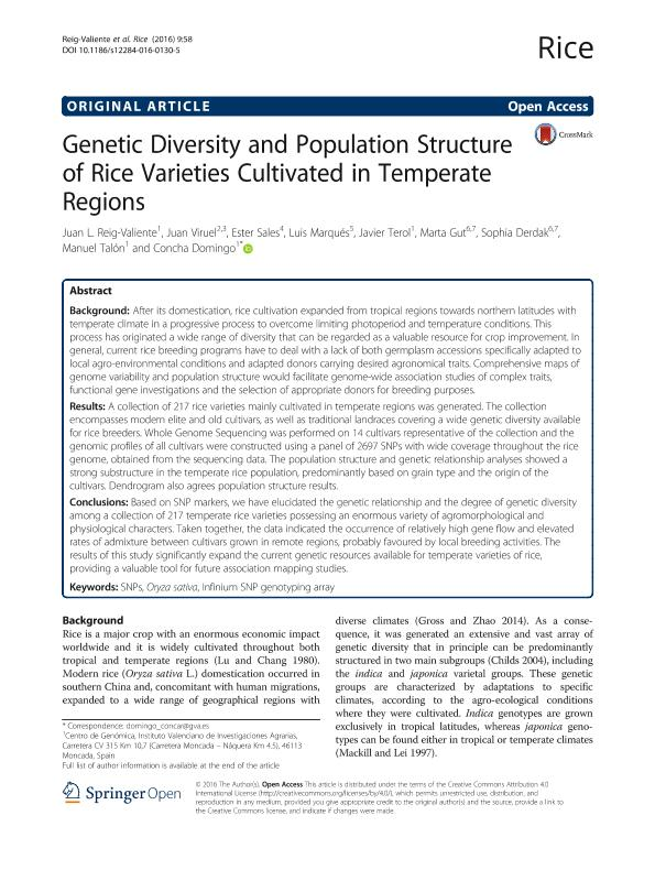 Genetic Diversity and Population Structure of Rice Varieties Cultivated in Temperate Regions