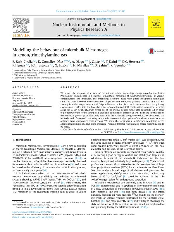 Modelling the behaviour of microbulk Micromegas in xenon/trimethylamine gas