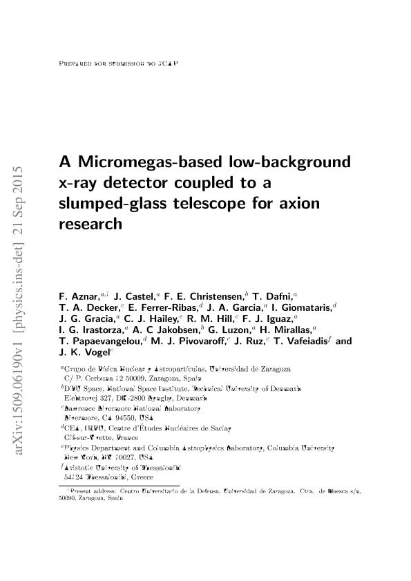 A Micromegas-based low-background x-ray detector coupled to a slumped-glass telescope for axion research