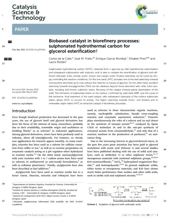 Biobased catalyst in biorefinery processes: Sulphonated hydrothermal carbon for glycerol esterification