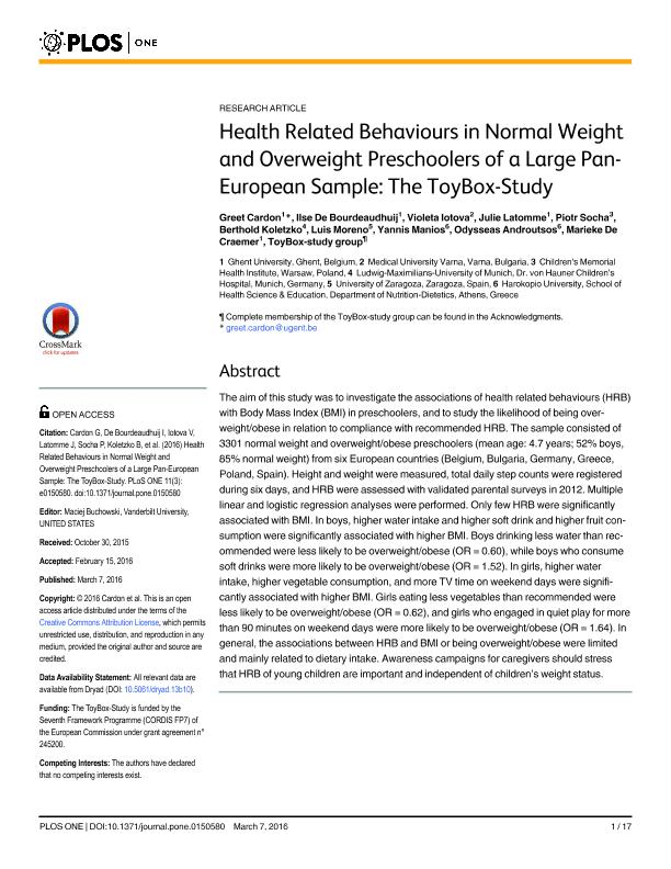 Health related behaviours in normal weight and overweight preschoolers of a large pan-european sample: The toybox-study