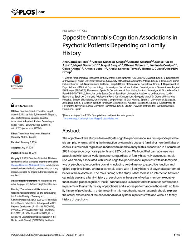Opposite cannabis-cognition associations in psychotic patients depending on family history