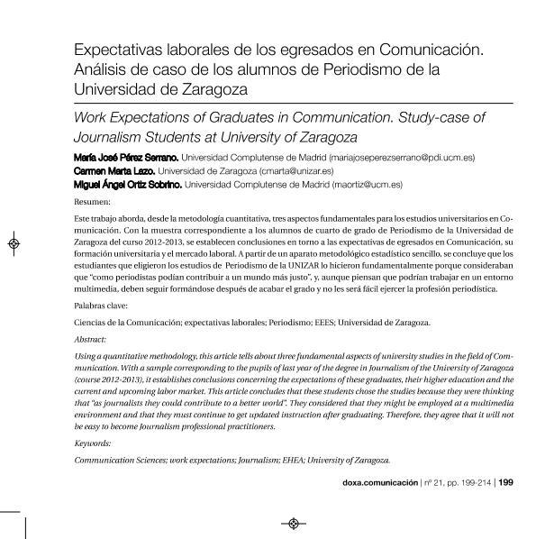 Expectativas laborales de los egresados en Comunicación. Análisis de caso de los alumnos de Periodismo de la Universidad de Zaragoza