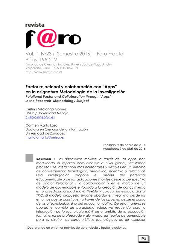 Factor Relacional y colaboración con