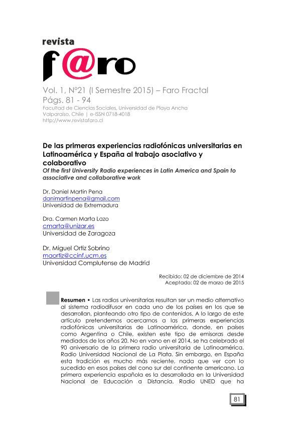 De las primeras experiencias radiofónicas universitarias en Latinoamérica y España al trabajo asociativo y colaborativo