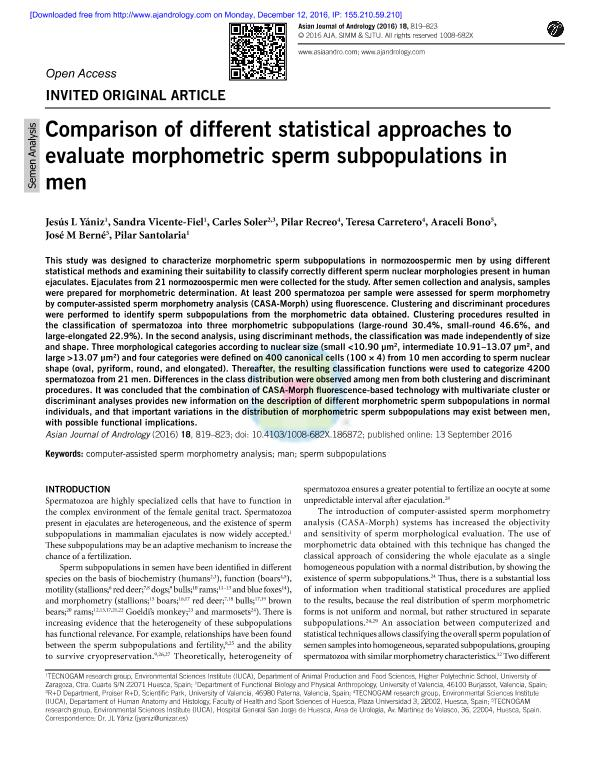 Comparison of different statistical approaches to evaluate morphometric sperm subpopulations in men