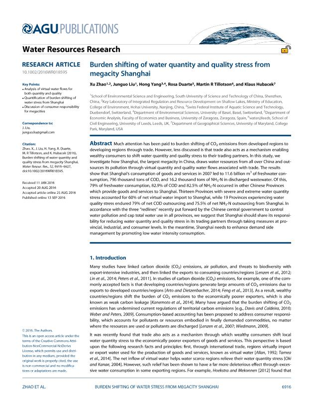 Burden shifting of water quantity and quality stress from megacity Shanghai