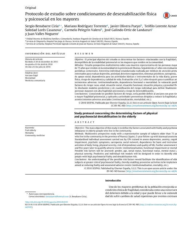 Protocolo de estudio sobre condicionantes de desestabilización física y psicosocial en los mayores
