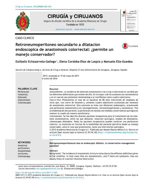 Retroneumoperitoneo secundario a dilatación endoscópica de anastomosis colorrectal: ¿permite un manejo conservador?