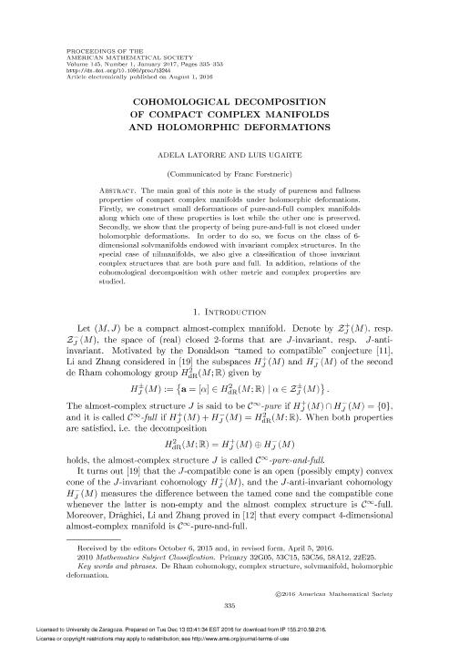 Cohomological decomposition of compact complex manifolds and holomorphic deformations