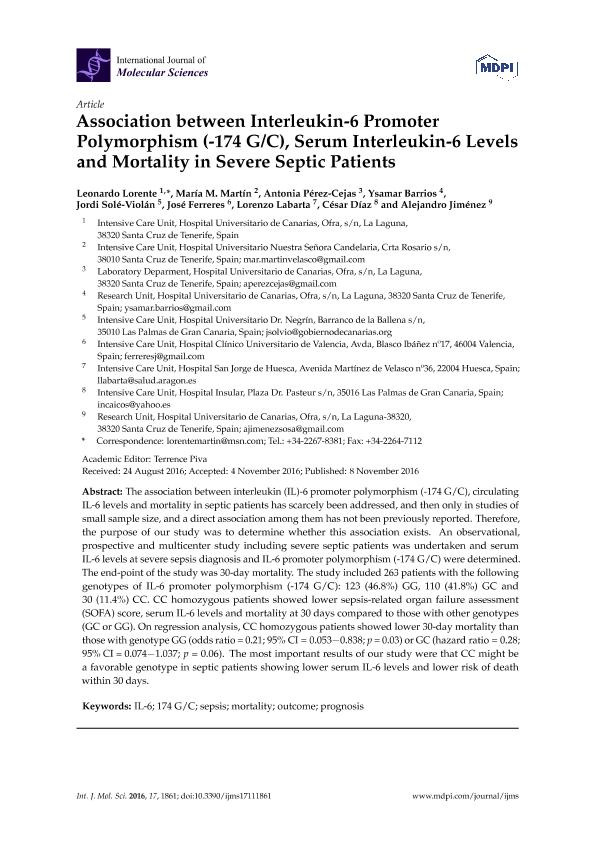 Association between interleukin-6 promoter polymorphism (-174 G/C), serum interleukin-6 levels and mortality in severe septic patients