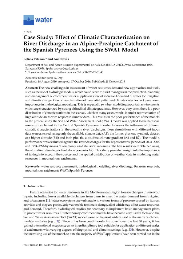 Case study: Effect of climatic characterization on river discharge in an alpine-prealpine catchment of the spanish pyrenees using the SWAT model