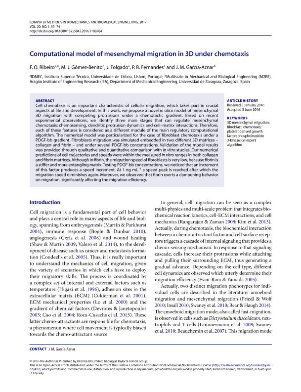 Computational model of mesenchymal migration in 3D under chemotaxis