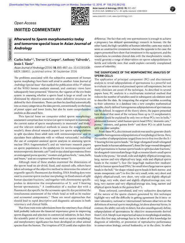 Afterword to Sperm morphometrics today and tomorrow special issue in Asian Journal of Andrology