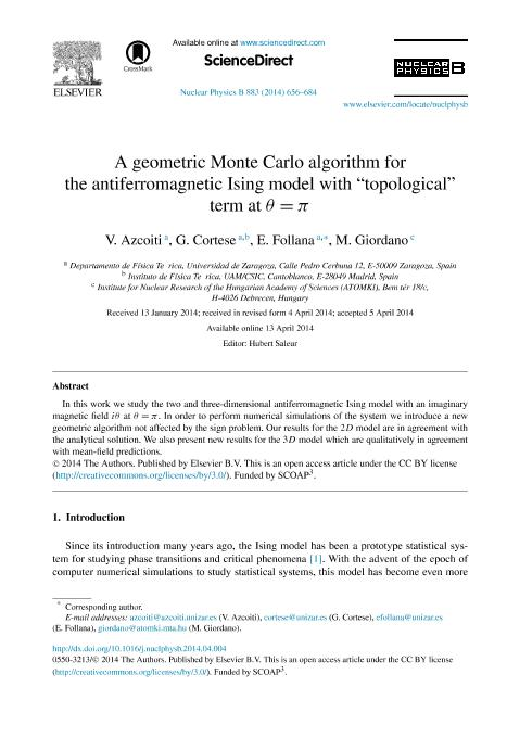 A geometric Monte Carlo algorithm for the antiferromagnetic Ising model with