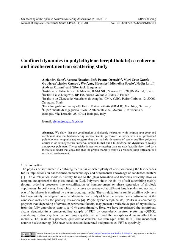 Confined dynamics in poly(ethylene terephthalate): A coherent and incoherent neutron scattering study
