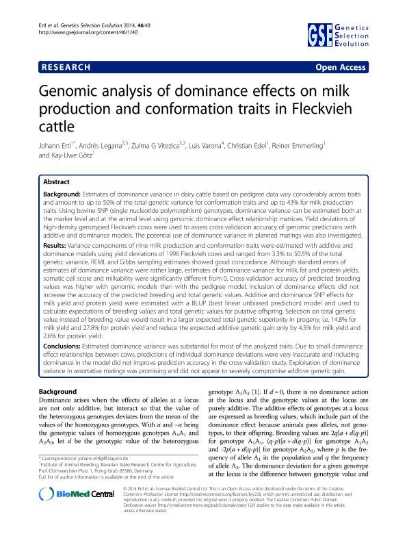 Genomic analysis of dominance effects on milk production and conformation traits in Fleckvieh cattle