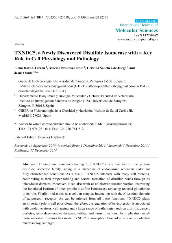 TXNDC5, a newly discovered disulfide isomerase with a key role in cell physiology and pathology