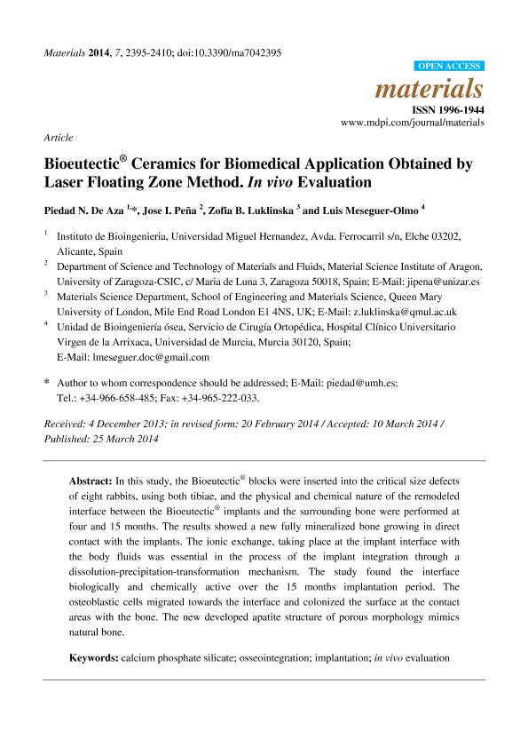 Bioeutectic® ceramics for biomedical application obtained by laser floating zone method. In vivo evaluation