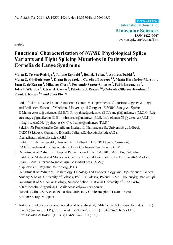 Functional characterization of NIPBL physiological splice variants and eight splicing mutations in patients with cornelia de lange syndrome