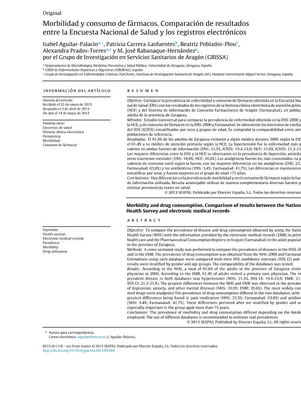Morbidity and drug consumption. Comparison of results between the National Health Survey and electronic medical records