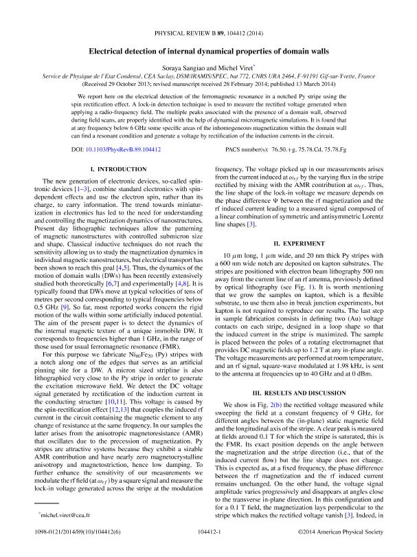Electrical detection of internal dynamical properties of domain walls
