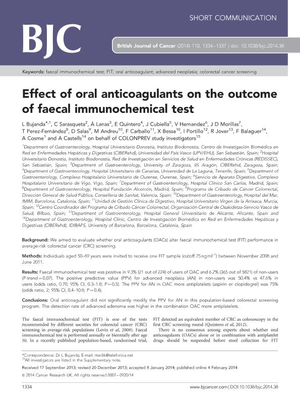 Effect of oral anticoagulants on the outcome of faecal immunochemical test