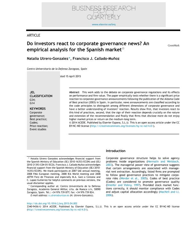 Do investors react to corporate governance news? An empirical analysis for the Spanish market