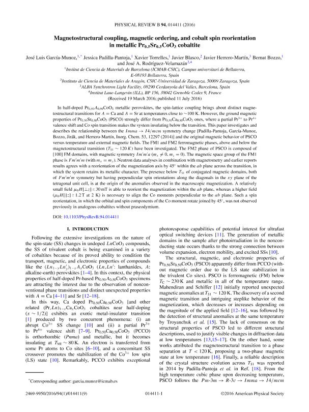Magnetostructural coupling, magnetic ordering, and cobalt spin reorientation in metallic P r0.5 S r0.5Co O3 cobaltite