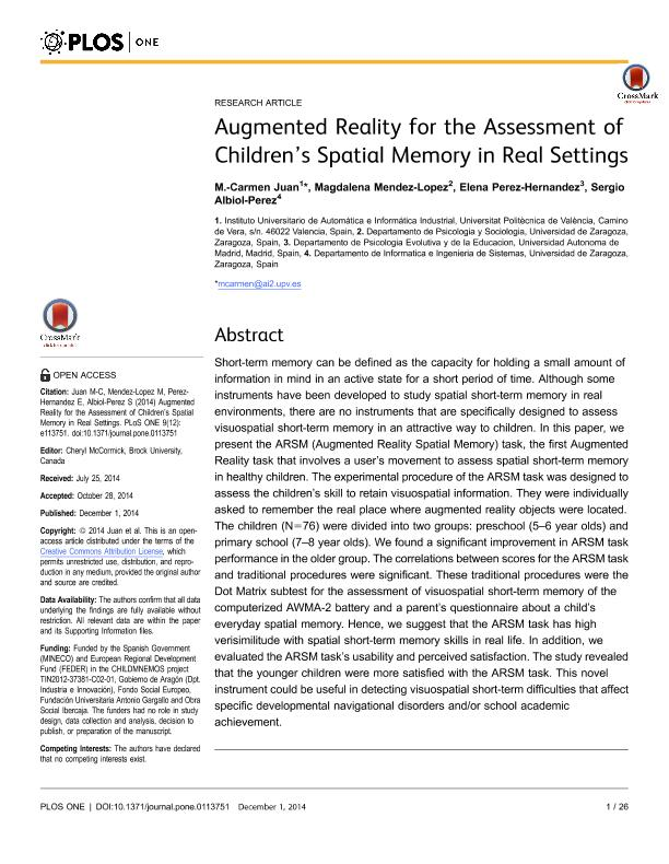 Augmented reality for the assessment of children's spatial memory in real settings