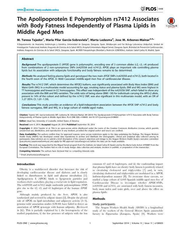 Apo E polymorphism associates with body fatness independently of plasma lipids in middle age men -the aragon workers health study