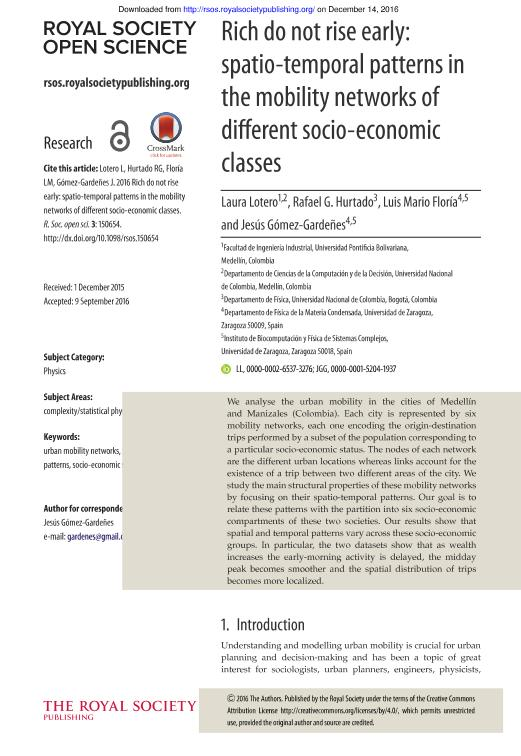 Rich do not rise early: Spatio-temporal patterns in the mobility networks of different socio-economic classes