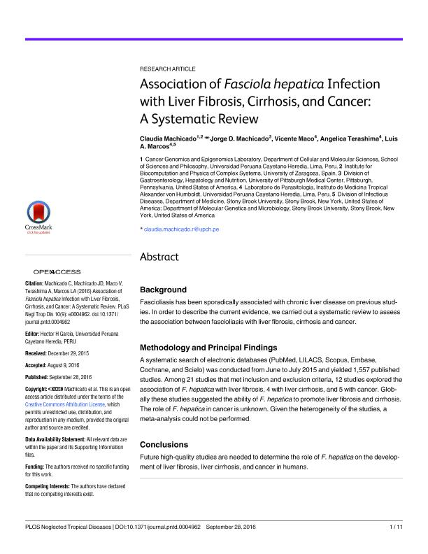 Association of Fasciola hepatica Infection with Liver Fibrosis, Cirrhosis, and Cancer: A Systematic Review