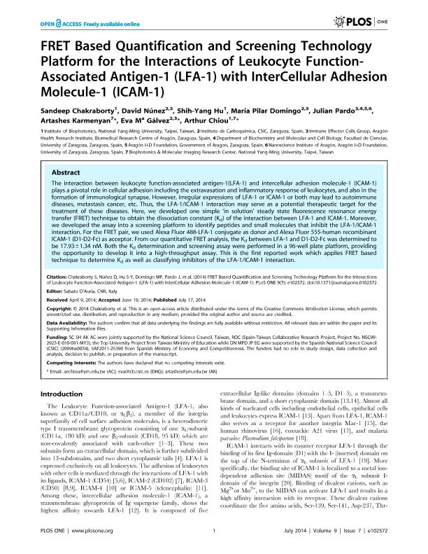 FRET based quantification and screening technology platform for the interactions of Leukocyte Function-associated Antigen-1 (LFA-1) with InterCellular Adhesion Molecule-1 (ICAM-1)