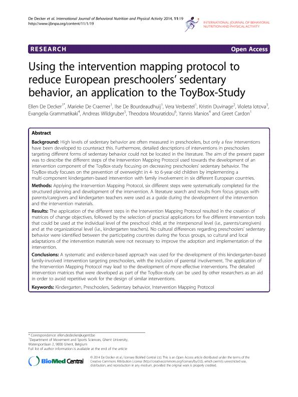 Using the intervention mapping protocol to reduce European preschoolers'' sedentary behavior, an application to the ToyBox-Study