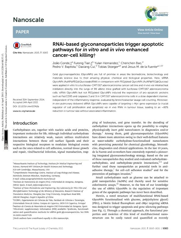 RNAi-based glyconanoparticles trigger apoptotic pathways for in vitro and in vivo enhanced cancer-cell killing