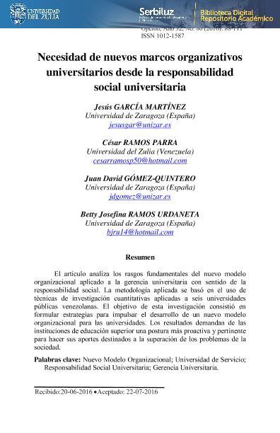 Necesidad de nuevos marcos organizativos universitarios desde la responsabilidad social universitaria