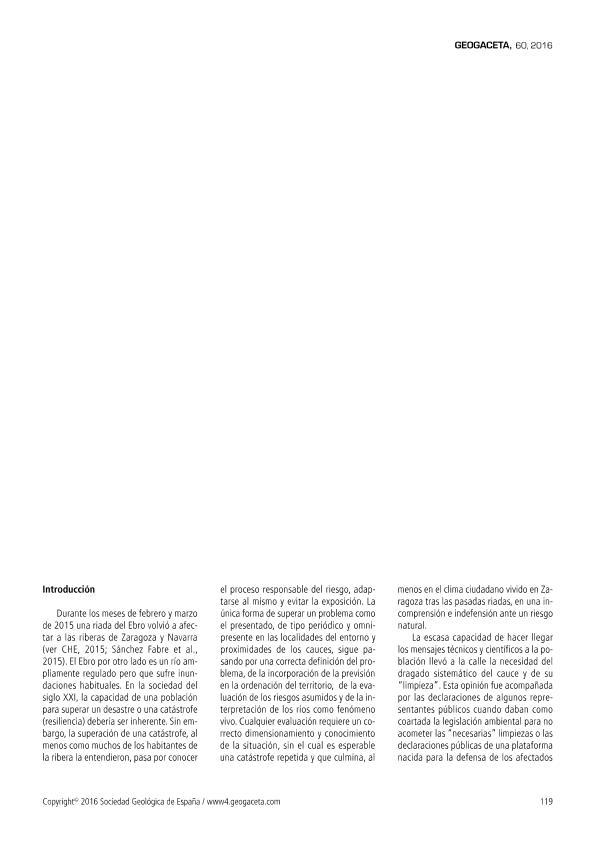 Las crecidas del Ebro de febrero/marzo de 2015. ¿Qué hemos aprendido y qué falta por aprender?