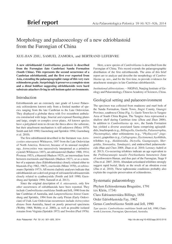 Morphology and palaeoecology of a new edrioblastoid from the Furongian of China
